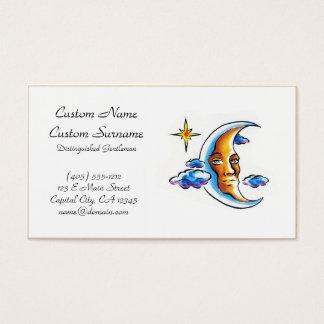 Cool cartoon tattoo symbol Moon face star clouds Business Card