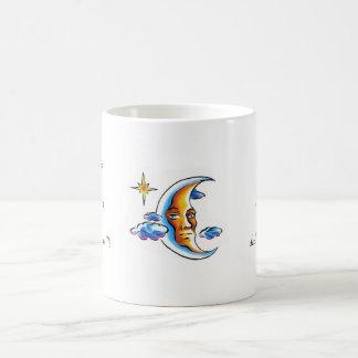 Cool cartoon tattoo symbol Moon face star clouds Coffee Mug