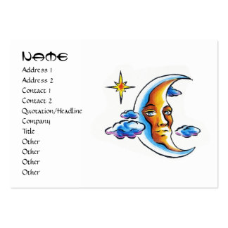 Cool cartoon tattoo symbol Moon face star clouds Large Business Cards (Pack Of 100)