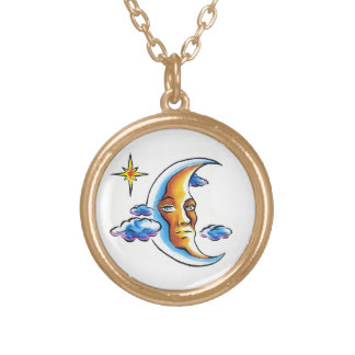 Cool cartoon tattoo symbol Moon face star clouds Round Pendant Necklace