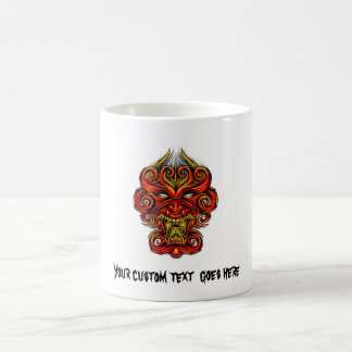 Cool cartoon tattoo symbol oriental demon mask mug