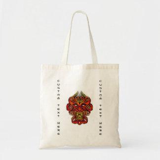 Cool cartoon tattoo symbol oriental demon mask tote bag