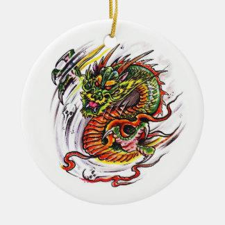 Cool cartoon tattoo symbol oriental Dragon Ceramic Ornament
