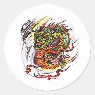 Cool cartoon tattoo symbol oriental Dragon Classic Round Sticker