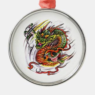 Cool cartoon tattoo symbol oriental Dragon Metal Ornament