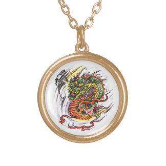 Cool cartoon tattoo symbol oriental Dragon Round Pendant Necklace