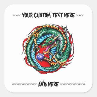 Cool cartoon tattoo symbol oriental dragon orb square sticker