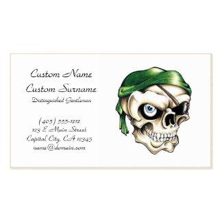 Cool cartoon tattoo symbol pirate skull bandana business card