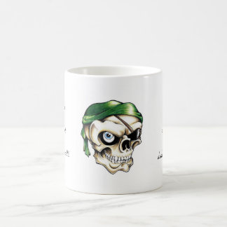 Cool cartoon tattoo symbol pirate skull bandana coffee mug