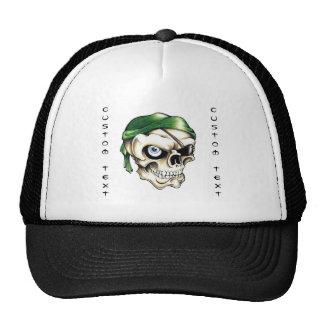 Cool cartoon tattoo symbol pirate skull bandana trucker hat