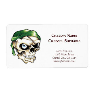 Cool cartoon tattoo symbol pirate skull bandana label
