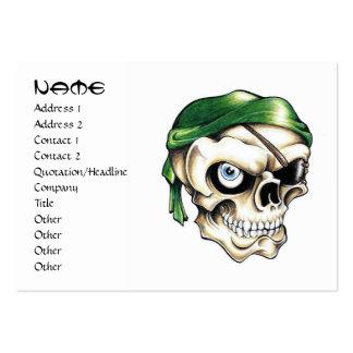 Cool cartoon tattoo symbol pirate skull bandana large business card