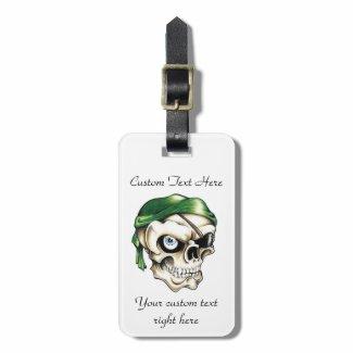 Cool cartoon tattoo symbol pirate skull bandana luggage tags