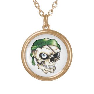 Cool cartoon tattoo symbol pirate skull bandana round pendant necklace