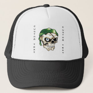 Cool cartoon tattoo symbol pirate skull bandana trucker hat