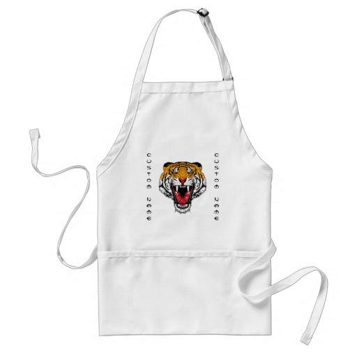 Cool cartoon tattoo symbol roaring feral tiger aprons