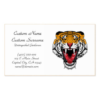 Cool cartoon tattoo symbol roaring feral tiger Double-Sided standard business cards (Pack of 100)