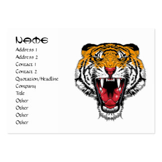 Cool cartoon tattoo symbol roaring feral tiger large business cards (Pack of 100)