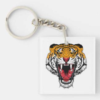 Cool cartoon tattoo symbol roaring feral tiger keychain