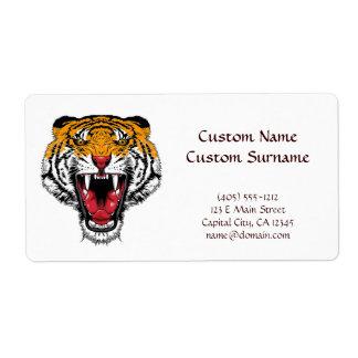 Cool cartoon tattoo symbol roaring feral tiger label