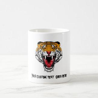 Cool cartoon tattoo symbol roaring feral tiger mugs