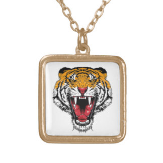 Cool cartoon tattoo symbol roaring feral tiger custom necklace
