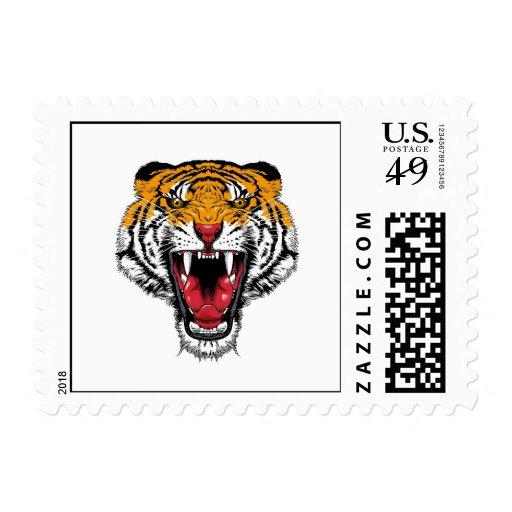 Cool cartoon tattoo symbol roaring feral tiger postage