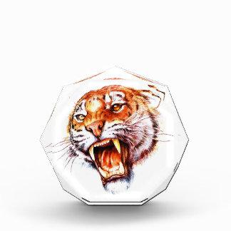 Cool cartoon tattoo symbol roaring tiger head acrylic award