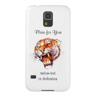 Cool cartoon tattoo symbol roaring tiger head galaxy s5 cover