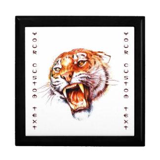 Cool cartoon tattoo symbol roaring tiger head gift box