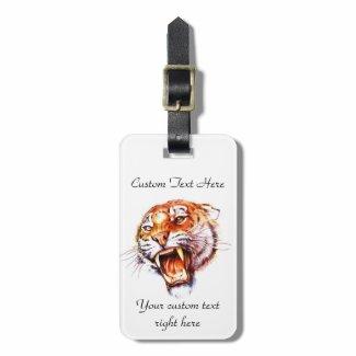 Cool cartoon tattoo symbol roaring tiger head tag for bags