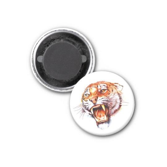 Cool cartoon tattoo symbol roaring tiger head magnet