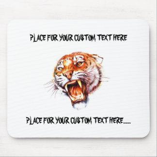 Cool cartoon tattoo symbol roaring tiger head mouse pad