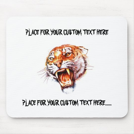 Cool cartoon tattoo symbol roaring tiger head mouse pad