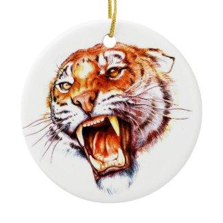 Cool cartoon tattoo symbol roaring tiger head christmas ornaments