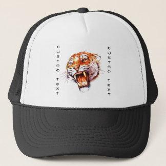 Cool cartoon tattoo symbol roaring tiger head trucker hat