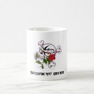 Cool cartoon tattoo symbol skull bones rose coffee mug