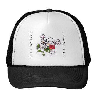 Cool cartoon tattoo symbol skull bones rose trucker hat