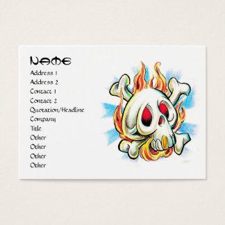 Cool cartoon tattoo symbol skull flame fire bones business card