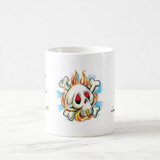 Cool cartoon tattoo symbol skull flame fire bones coffee mug