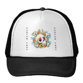 Cool cartoon tattoo symbol skull flame fire bones trucker hat