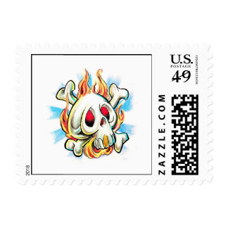 Cool cartoon tattoo symbol skull flame fire bones stamps