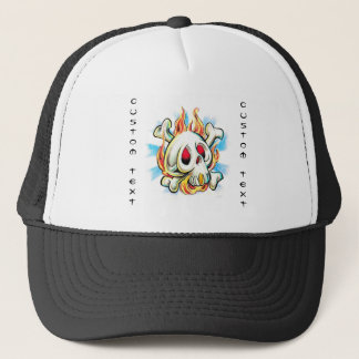 Cool cartoon tattoo symbol skull flame fire bones trucker hat