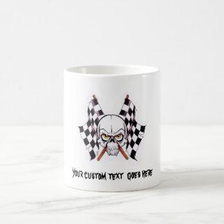Cool cartoon tattoo symbol skull racing flags coffee mug