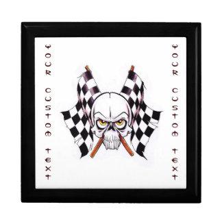 Cool cartoon tattoo symbol skull racing flags gift box