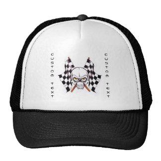 Cool cartoon tattoo symbol skull racing flags trucker hat
