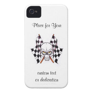 Cool cartoon tattoo symbol skull racing flags iPhone 4 cover