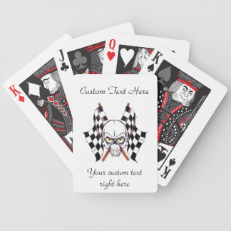 Cool cartoon tattoo symbol skull racing flags bicycle poker cards