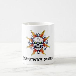 Cool cartoon tattoo symbol Skull sun bone Coffee Mug