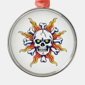 Cool cartoon tattoo symbol Skull sun bone Ornament